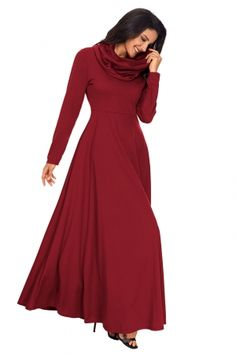 d76385a27c34 Wine Cow Neck Long Sleeve Maxi Dress