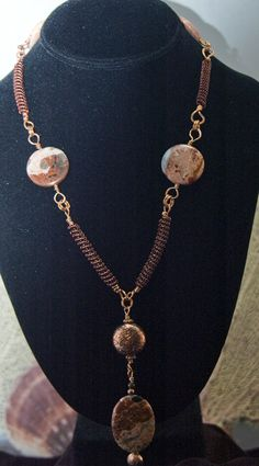 Cappuccino Jasper and Coiled Copper wire necklace - Simply Unique Jewelry - 1