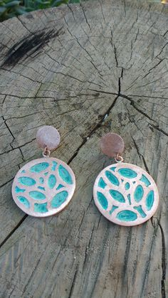 Two Open Pine Trees with Crescent Moon rectangle by silentgoddess Enamel Jewelry, Resin Jewelry, Jewelry Crafts, Jewelry Art, Jewelry Design, Mixed Metal Jewelry, Wooden Jewelry, Handmade Jewelry, Cleaning Silver Jewelry