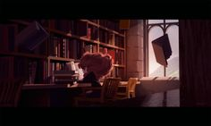 ALEXANDRIA NEONAKIS Some fan art of Hermione in the Hogwarts library doing a bit of light reading