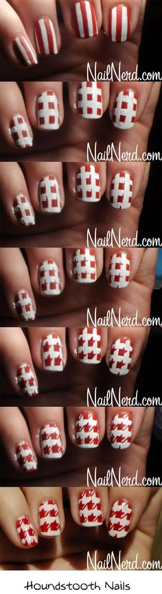 15 Amazing And Useful Nails Tutorials, DIY Houndstooth Nail Design
