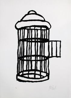 clavicola:  When Kurt Vonnegut died, they found this doodle of a bird cage standing empty, its door flung open. Underneath the image is a si...