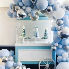 Silver Foild Balloon Blue White Balloons Garland Arch Kit For Birthday Wedding Baby Shower Decorations Party Supplies - - Round Balloons, White Balloons, Foil Balloons, Latex Balloons, Balloon Arch, Balloon Garland, Balloon Bouquet, Balloon Decorations, Garland Decoration