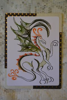 Embroidered dragon card by BarleyCreations on Etsy, $18.50
