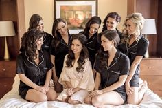 Bridesmaids morning of outfits! Victoria's Secret silk pajamas for bridesmaids and pink silk robe for bride