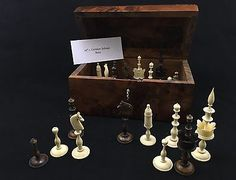 19th c German Selenus Chess set w Burlwood dome box