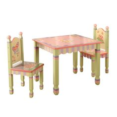 Kids Table and Chairs Set Butterfly Garden