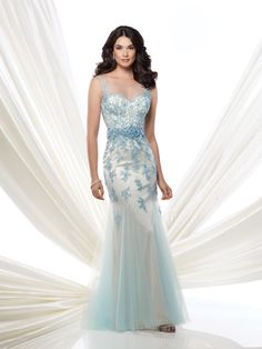 Montage by Mon Cheri - 115972 fit and flare gown, illusion bateau neckline over sweetheartdramatic appliqué at natural waistline,
