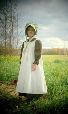 Girls' Pioneer Dress with Bonnet and Pinafore (Taylor's Scarlet Thread / etsy.com)