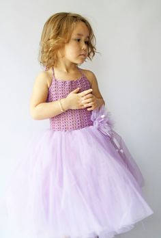 Girl Tutu Dress.Flower Girl Tulle Dress with Lace por AylinkaShop