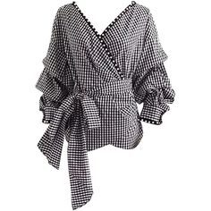 Monochrome Gingham V Neck Wrap Faux Pearl Trim Tie Waist Top (150 RON) ❤ liked on Polyvore featuring tops, v neck tops, gingham top, woven top, tie waist top and v neck wrap top