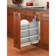 Rev-A-Shelf in. H x 8 in. D Pull-Out Wood Foil Wrap/Tray Divider Cabinet Organizer with Ball-Bearing Soft-Close - - The Home Depot Inside Cabinets, New Kitchen Cabinets, Built In Cabinets, Base Cabinets, Custom Cabinets, Kitchen Counters, Kitchen Islands, Cupboards, Stock Cabinets