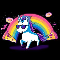 True happiness is pizza and unicorns! Get the Heck Yeah! t-shirt only at TeeTurtle!