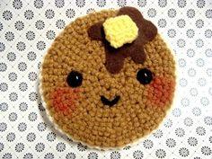 pancake , syrup , butter , brown , crochet , crocheted , yarn