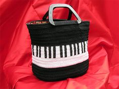 PIANOKEYS CROCHET TOTE Handmade Womans Large Piano Bag Purse With Plactic Handles Ooak
