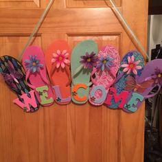 Flip flop wreaths flip flop decorations flip flop welcome wreath flip - Wreaths Bows And Flowers On Pinterest Flip Flop Wreaths