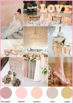 Rose blush gold wedding theme & mismatched bridesmaid dresses perfect selection in this Collage.