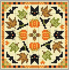 free cross stitch chart: black cat, bat, pumpkin, witch's hat, leaves
