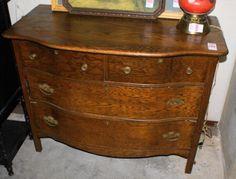 Nice Clean Oak Bow Front Dresser