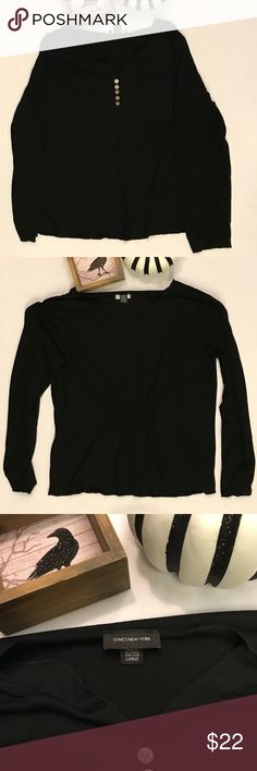 """Black Long Sleeve Henley style Top Soft knit Henley style top with 3"""" slit at center front bottom and elastic at back waist for fit. Jones New York Tops Tees - Long Sleeve"""