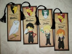 HARRY POTTER- Set of 4 Laminated Bookmarks - Personalized - Made to order - Stocking Stuffers - HP 446