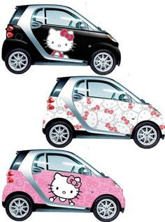 Hello Kitty Smart Cars lol I would totally drive one. Love the paint job but this is one butt ugly little car. Hello Kitty Theme Party, Hello Kitty Car, Hello Kitty Themes, Smart Auto, Smart Car, Fancy Cars, Cool Cars, Minis, Smart Fortwo
