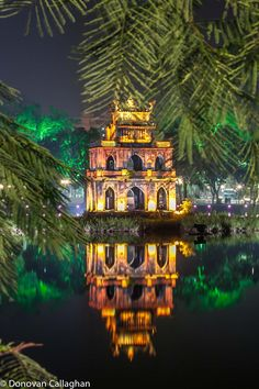 Turtle Tower . Sword Lake . Hanoi, Vietnam