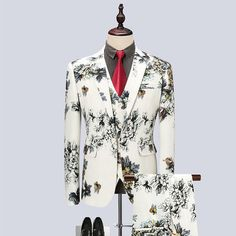 Wedding Prom Floral Suits for Men 2018 Fashion Mens 3 Piece Groom Suits Black and White Tuxedo for Men Jacket+Vest+Pants Price history. Mens 3 Piece Suits, Dress Suits For Men, Mens Suits, Groom Suits, Suit Men, Groom Attire, Wedding Dress Men, Wedding Men, Wedding Suits