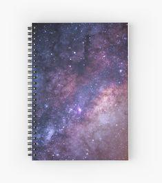 'Purple Glittering Star Galaxy Artwork' Spiral Notebook by newburyboutique Spiral Notebook Covers, Diy Notebook Cover, Notebook Design, Spiral Notebooks, Cute Journals, Cute Notebooks, Galaxy Backpack, Cool School Supplies, Diy Tumblr