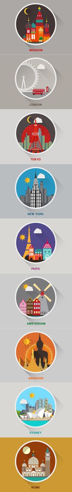 著名城市插画剪影欣赏