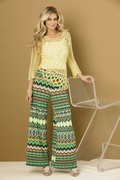 Tempo Paris #crochet flower #sweater paired with Coco Bianco zig zag patterned palazzo pants. #SteinMart