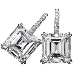 Tremendous Asscher-cut GIA Cert diamond platinum earrings  | From a unique collection of vintage lever-back earrings at https://www.1stdibs.com/jewelry/earrings/lever-back-earrings/