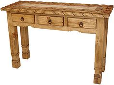 An inlaid mosaic top gives this table a distinctive appearance. It has three drawers that are perfect for storing small items. This console table is great to put behind a sofa or in an entry way. It is an affordable, hand made console table makes a great impression.