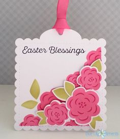 Blue Lily Sentiments: Easter Blessings. Stamps: PTI Color Pop Florals, PTI Keep It Simple: Easter Dies: PTI Tag Sale: Quilted, PTI Color Pop Florals Ink: PTI Hibiscus Burst, PTI Raspberry Fizz, PTI Spring Moss, PTI True Black Paper: PTI Stamper's Select White.