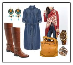 """Plus Size - Fall Inspired Denim Shirt Dress"" by dawnhearn on Polyvore featuring SCARLETT, Steilmann, Vince Camuto, Chanel, M&F Western, Michael Kors, Lucky Brand and plussizedenim"