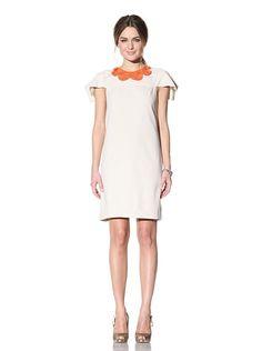 Behnaz Sarafpour Women's Short Sleeve Dress with Embellished Neckline (ECRU/CORAL),$115.00