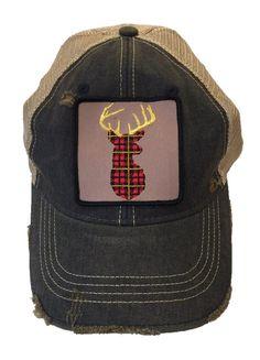 Judith March Denim Hat Deer Plaid Patch Preppy Wardrobe 1ed5b42d02c1