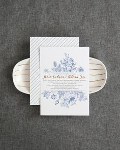 Chinoiserie-Inspired Blue and White Wedding Invitations by Honeybee Paper Co.