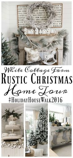 Cozy Rustic Farmhouse Cottage Christmas decor - A great pin for inspiration for neutral rustic holiday decor.