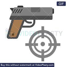 GIF icon animation of a gray pistol and a bullseye Shooting Targets, Shooting Games, Loop Gif, Game Tag, First Person Shooter, Animation, Gray, Shooter Games, Ash
