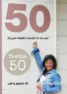 Sarah uitnodiging eigen foto 50, verkrijgbaar bij #kaartje2go voor € 0,99