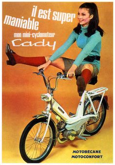Girl on an old motorcycle: Post your pics! Moto Scooter, Scooter Girl, Vintage Advertisements, Vintage Ads, Vintage Moped, Vintage Room, Moto Design, Flower Power, Motorcycle Posters