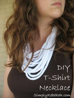DIY T-Shirt Necklace - Instead of throwing away your old t-shirt upcycle it into this cool and thrifty necklace.