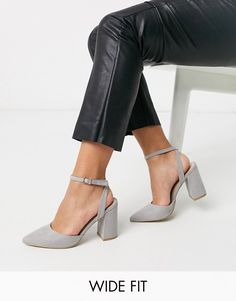 RAID Wide Fit Exclusive Neima block heeled shoes in grey | ASOS