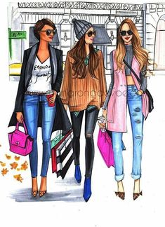Fashion illustration of fashionistas doing Christmas shopping by Houston Fashion Illustrator Rongrong DeVoe Set Fashion, Fashion Art, Girl Fashion, Fashion Design, Best Friend Drawings, Bff Drawings, Image Mode, Modelos Fashion, Paris Mode