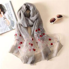 Hot Chiffon Silk Hijab Scarf Elegant Floral High Quality Shawl Wrap Cape H
