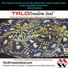 Ultra-Light Seat for Walking Sticks and Hiking/Trekking Poles Rest and Relief when and where you want with the Ultra-Light, Ultra-Strong, Ultra-Easy-to-Use seat accessory for walking sticks and hiking/trekking poles. Take a load off with the TALO Freedom Seat by Maximum Win LLC, Innovations for the Outdoor Enthusiast. #giftideas #hammockchair #injuryrecovery #arthritis #beprepared #life #hiking #painrelief #kneepain #backpain