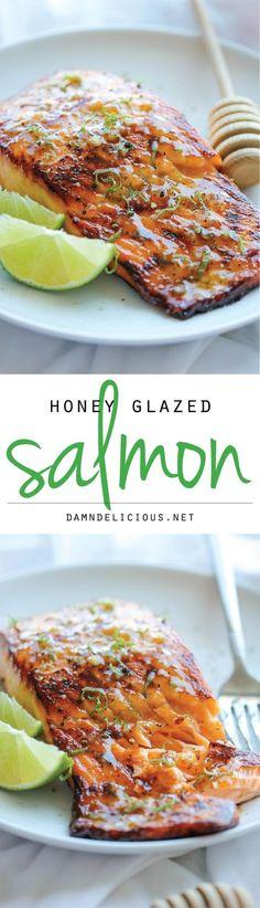 This Honey Garlic Glazed Salmon from Delish.com is the most addicting salmon recipe ever. #honeyfood #glazed #salmon