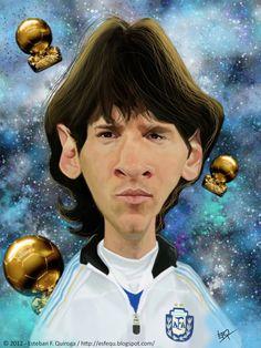 Caricatura de Leo Messi. Argentina team. #worldcup, #soccer
