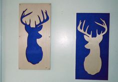 Plywood and Recycled Aluminum Deer Set in Blue